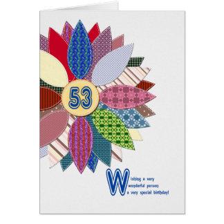 53 van de oude, gestikte bloemjaar verjaardag briefkaarten 0