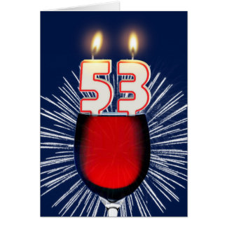 53ste Verjaardag met wijn en kaarsen Briefkaarten 0