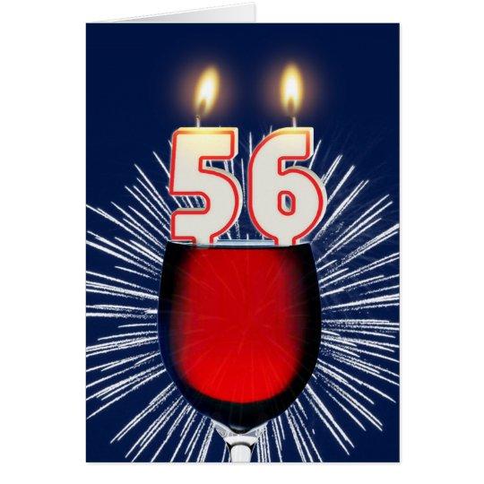 56ste Verjaardag met wijn en kaarsen Briefkaarten 0