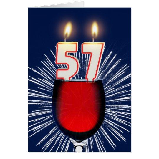 57ste Verjaardag met wijn en kaarsen Wenskaart