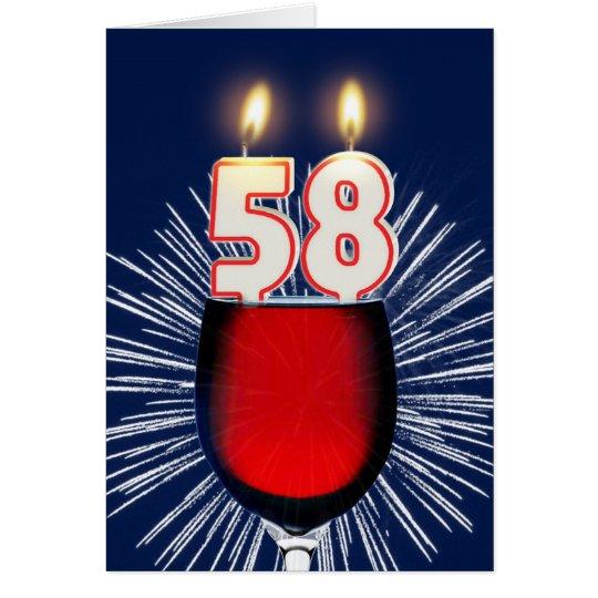 58ste Verjaardag met wijn en kaarsen Wenskaart