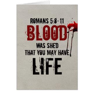 5:8 van Romeinen - Bloed 11 werd afgeworpen voor u Kaart