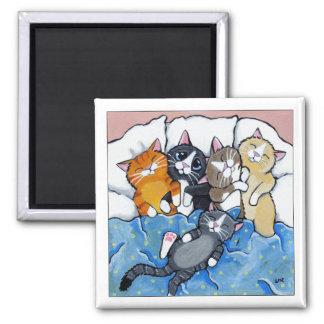 5 slaperige Katjes - de Magneet van de Kunst van Vierkante Magneet