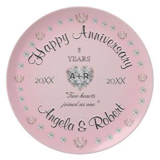 5de Jubileum met Roze Harten Melamine+bord