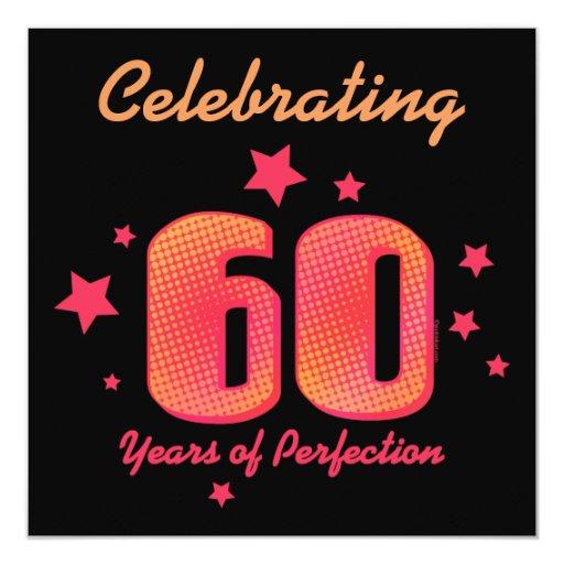 60 jaar van de Uitnodiging van de Verjaardag van 13,3x13,3 Vierkante Uitnodiging Kaart