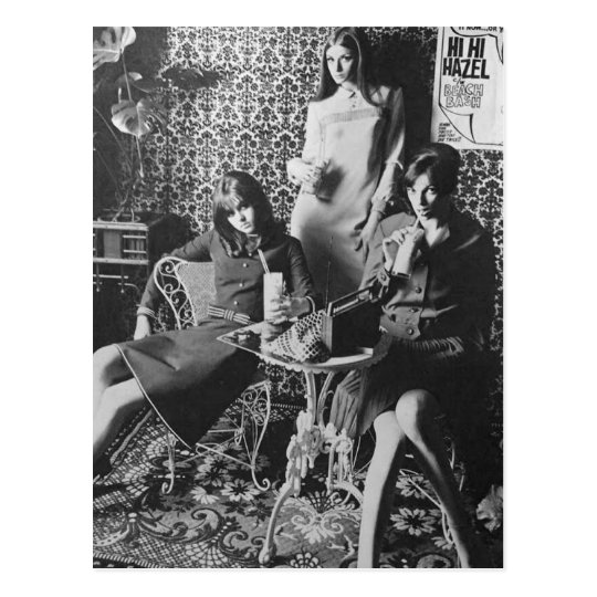 60's Milkshake girls POSTCARD Briefkaart