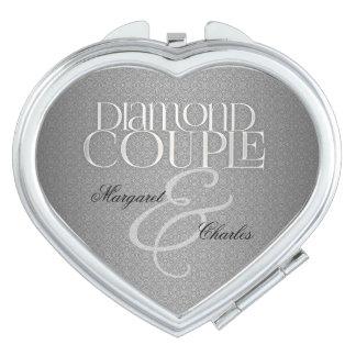 60ste Diamant WeddinAnniversary | Compacte Douane Reisspiegeltje
