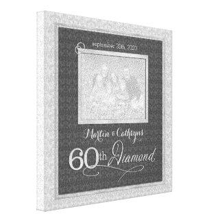 60ste Jubileum - 11x11 Gepersonaliseerde Foto Stretched Canvas Afdruk