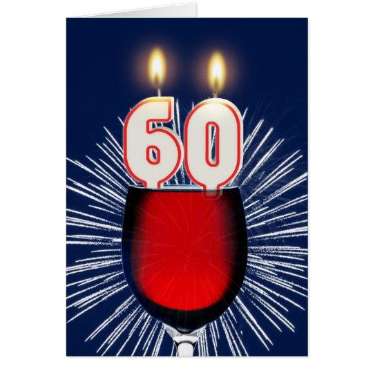 60ste Verjaardag met wijn en kaarsen Wenskaart