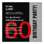 60ste Verjaardag Moderne Rode Zilveren Zwarte Grap Persoonlijke Aankondiging