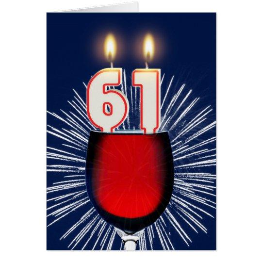 61ste Verjaardag met wijn en kaarsen Wenskaart