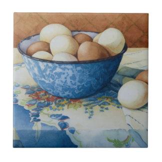 6293 eieren in Kom Enamelware Tegeltje