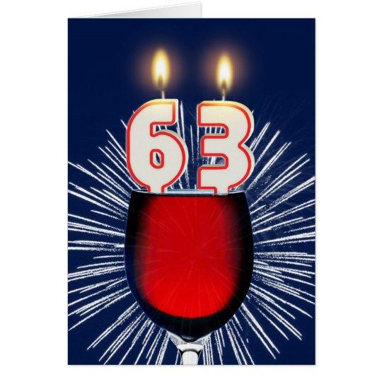 63ste Verjaardag met wijn en kaarsen Wenskaart