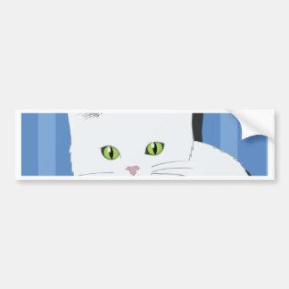 63White Cat_rasterized Bumpersticker