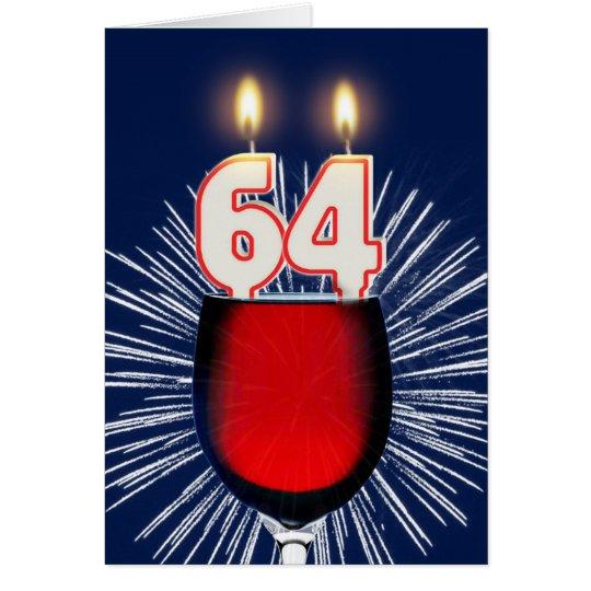 64ste Verjaardag met wijn en kaarsen Wenskaart