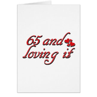 65 en het houden van van het wenskaart