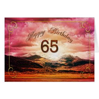 65 verjaardag, Zonsondergang over de bergen Wenskaart