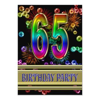 65ste de partijUitnodiging van de Verjaardag met 12,7x17,8 Uitnodiging Kaart