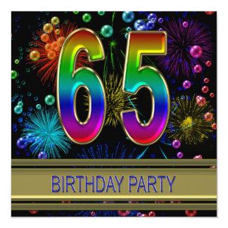 65ste de partijUitnodiging van de Verjaardag met 13,3x13,3 Vierkante Uitnodiging Kaart
