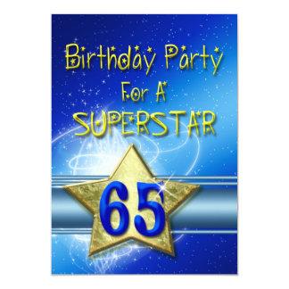 65ste de partijUitnodiging van de Verjaardag voor 12,7x17,8 Uitnodiging Kaart