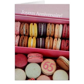 65ste Franse Verjaardag macaron-Joyeux Notitiekaart