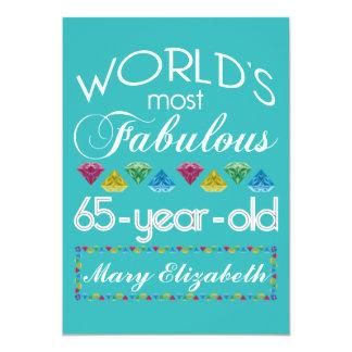65ste Verjaardag de Meeste Fabelachtige Kleurrijke 12,7x17,8 Uitnodiging Kaart