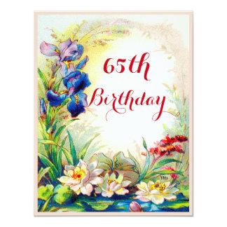 65ste Verjaardag de Vintage Bloemen van 10,8x13,9 Uitnodiging Kaart