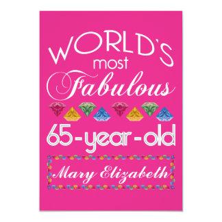 65ste Verjaardag het Meeste Fabelachtig Kleurrijk 12,7x17,8 Uitnodiging Kaart