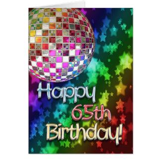65ste verjaardag met discobal en regenboog van wenskaart