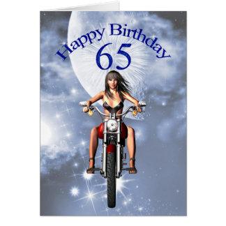 65ste verjaardag met een fietsermeisje wenskaart