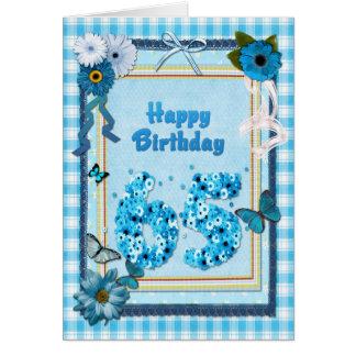 65ste Verjaardag met een plakboekeffect Kaart