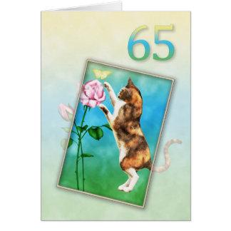 65ste Verjaardag met een speelse kat Wenskaart
