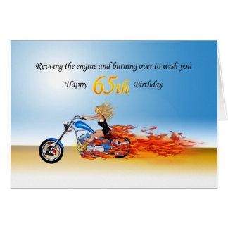 65ste Verjaardag met een Vlammende Motorfiets Wenskaart