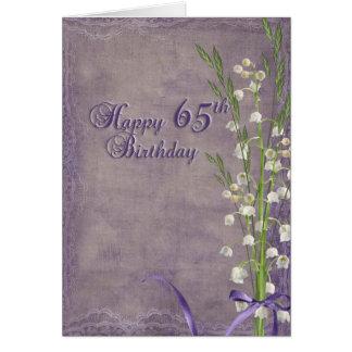 65ste Verjaardag met lelietje-van-dalen Wenskaart