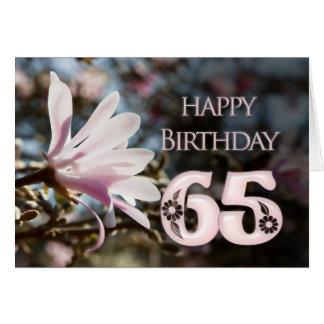 65ste Verjaardag met magnolia Wenskaart
