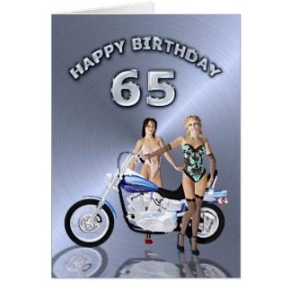 65ste verjaardag met meisjes en een motorfiets wenskaart