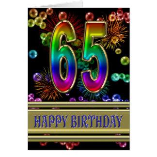 65ste Verjaardag met regenboogbellen en vuurwerk Wenskaart