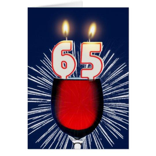 65ste Verjaardag met wijn en kaarsen Wenskaart