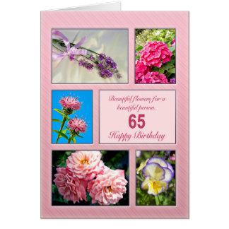 65ste verjaardag, mooie bloemenkaart wenskaart