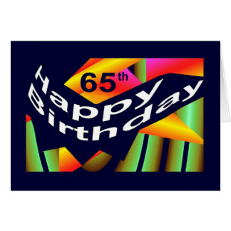 65ste Verjaardag - Regenboog Gekleurde Viering Wenskaart