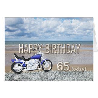 65ste verjaardagskaart met een motorfiets wenskaart