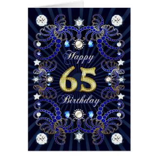 65ste verjaardagskaart met massa's van juwelen wenskaart