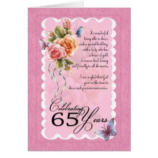 65ste verjaardagswenskaart - rozen en butterflie wenskaart