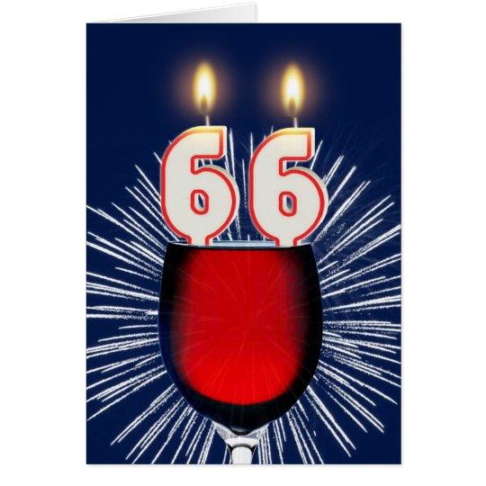 66ste Verjaardag met wijn en kaarsen Wenskaart