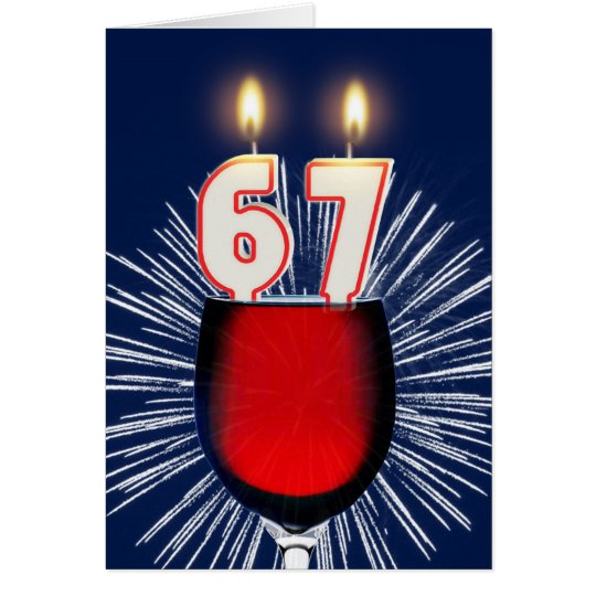 67ste Verjaardag met wijn en kaarsen Kaart