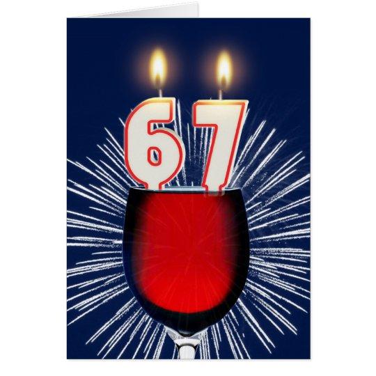 67ste Verjaardag met wijn en kaarsen Wenskaart