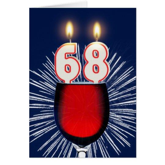 68ste Verjaardag met wijn en kaarsen Wenskaart