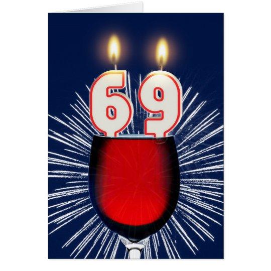 69ste Verjaardag met wijn en kaarsen Wenskaart