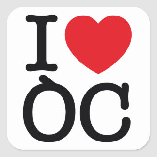 "6 stickers ""I Love Oc"" plank van 6 stickers"