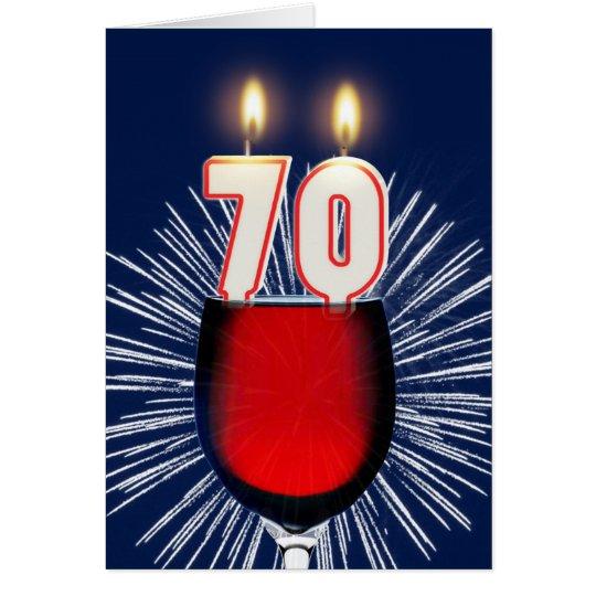 70ste Verjaardag met wijn en kaarsen Wenskaart